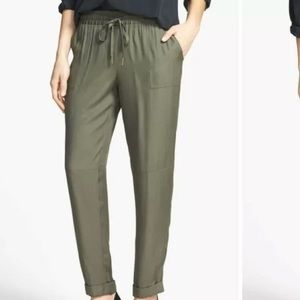 Joie Olive Silk Crepe Tapered Leg Fatigue Pants